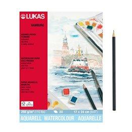 "Hochwertiges ""LUKAS Aquarellpapier HAMBURG"" 20 Blatt Block - 17 x 24 cm - Naturweiß - Artikelnr. 56010002 + Profi Skizzenstift -"
