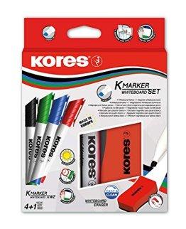 Kores Whiteboard Set, 4 Marker mit Keilspitze, 1 mm, schwarz/blau/rot/grün -