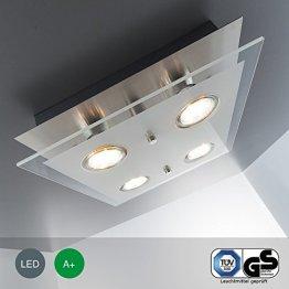 LED-Deckenleuchte Deckenlampe Wohnzimmer GU10 4 flammig a 3 Watt 4 x 250 Lumen Schlafzimmer chrom matt-nickel Deckenstrahler Strahler GU 10 viereckig Flur Küche Kinderzimmer -