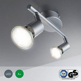 LED Deckenleuchte LED Deckenlampe LED Deckenstrahler LED Lampe LED Leuchte Deckenleuchte Spot LED Deckenspot inklusive 3W GU10 warmweiss schwenkbar Metall titanfarbig Wohnzimmer 2 flammig -
