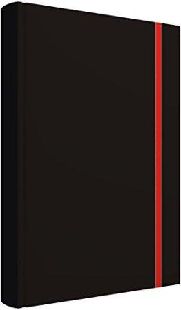 Notizbuch: Edles Notizbuch, blanko, 2 Lesebändchen, Tasche für Visitenkarten, verschließbar mit Gummizug -