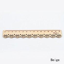 Pasey 1pc Korea Kawaii nette Briefpapier-Spitze Holz Lineal Sewing Lineal, braun -