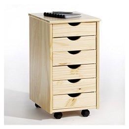 Rollcontainer Bürocontainer Container Schubladencontainer LAGOS, Kiefer massiv in natur, 6 Schubladen, 4 Doppelrollen -