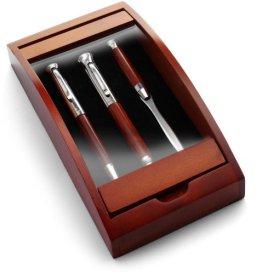 Schreibset 'Borkum' aus Rosenholz - Kugelschreiber, Füllfederhalter, und Etui -