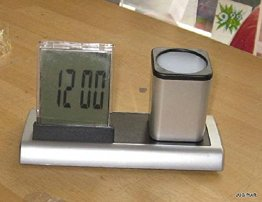 Schreibtischköcher, Stiftköcher, Stifthalter mit Uhr, Thermometer, Kalender, Wecker -