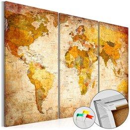 SENSATIONSPREIS 120x80 cm ! Neuheit! Weltkarte mit Kork Rückwand - Bild auf Vlies-Leinwand - 3 Teilig - Bilder - Leinwandbild Poster Pinnwand Kunstdruck Weltkarte Kontinent Welt Landkarte Karte k-B-0020-p-a 120x80 cm B&D XXL -