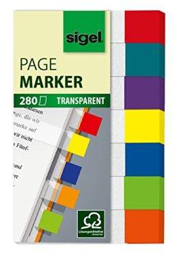 Sigel HN677 Haftmarker Transparent, 7 Farben, 280 Streifen im Format 12 x 50 mm -