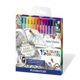 Staedtler 334 C15JB triplus Fineliner Set mit 15 sortierten Farben Exklusive Johanna Basford Edition, Ergonomische Dreikantform, Schreiben, Malen und Zeichnen -