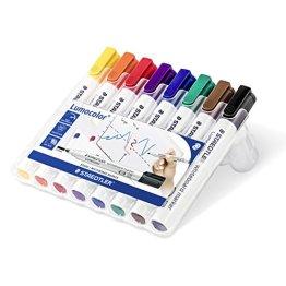 Staedtler 351 WP8 Lumocolor Whiteboardmarker Rundspitze, 2 mm, aufstellbare Box mit 8 farben -
