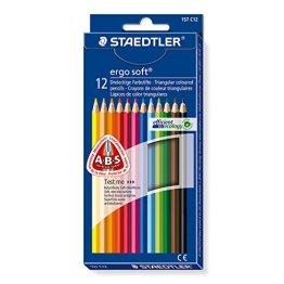 Staedtler ergosoft Buntstifte, erhöhte Bruchfestigkeit, dreikant, Set mit 12 brillanten Farben, 157 C12 -