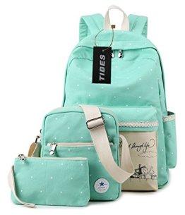 Tibes Beiläufige Segeltuch Schule Spielraum Rucksack + Schultertasche + Geldbeutel für Teen Girls Wasser-Blau -
