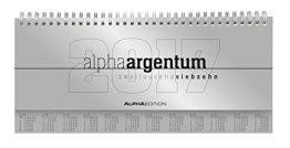 Tisch-Querkalender alpha argentum 2017 -  Tischkalender / Bürokalender (29,7 x 13,5) - 1 Woche 2 Seiten - silber -