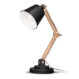 Tomons schwenkbare Schreibtischlampe Leselampe Retro Design für Schreibtisch und Nachttisch, Designer-Lampe für Arbeitszimmer, Büro, Schlafzimmer und Wohnzimmer inkl. E27 LED-Leuchtmittel, Schwarz -