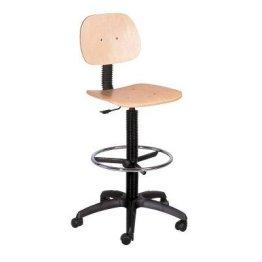 Topsit IND104 Arbeitsdrehstuhl hoch mit Fußring, Holz -