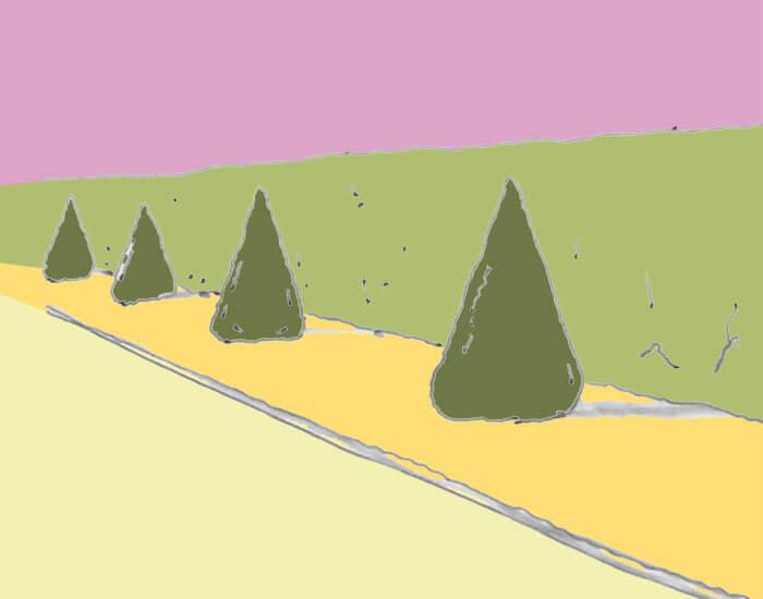 Skizze von Eibenkegeln vor einer immergrünen Hecke. Eiben sind in fast allen Bestandteilen giftig