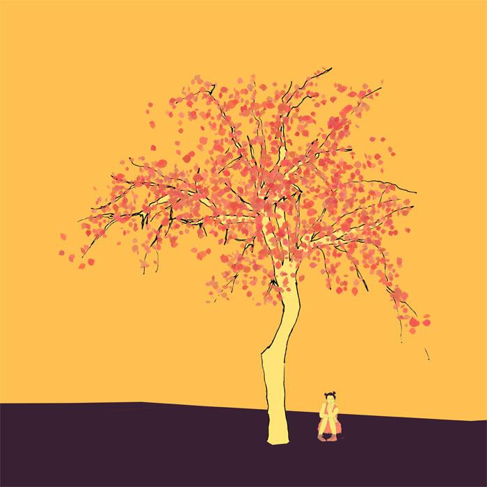 Apfelbaum 7,5m mit Teenagermädchen darunter, Skizze, coloriert