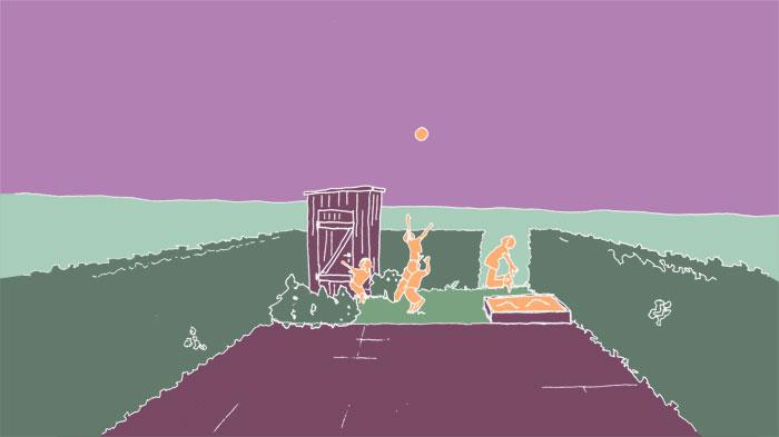 Ein Reihenhausgarten mit Terrassen, Heckeneinfassung, Gartenschuppen, Sandkasten und blühenden Pflanzen. Für spielende Kinder ist da kaum noch Platz.