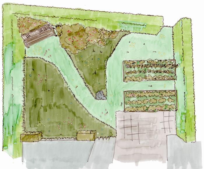 Skizze, Übersicht über einen kleinen Garten, Entwurf