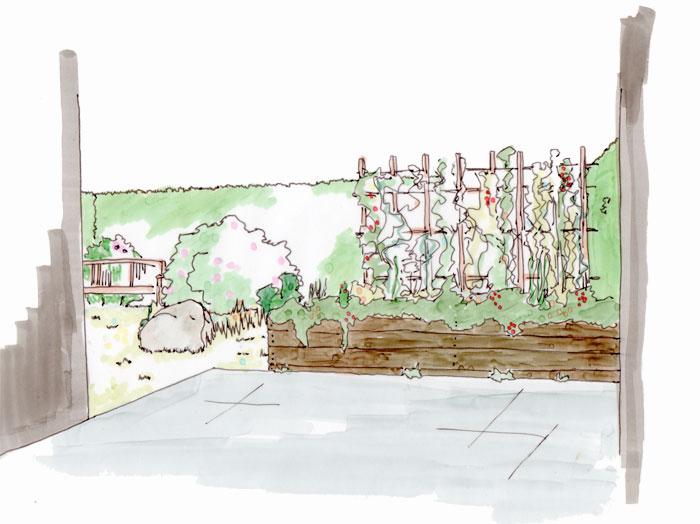 Skizzenhafte Sicht von der Terrasse in den kleinen Garten mit Hochbeeten, Rankhilfe und Gartenbank im Hintergrund