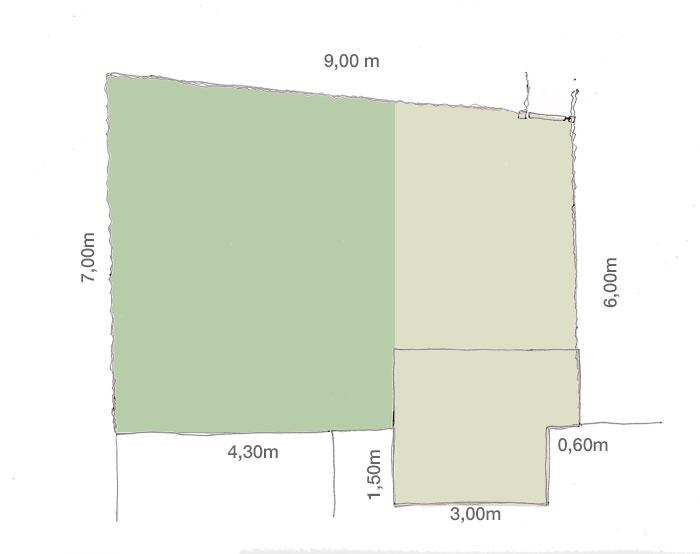 Konzeptskizze für einen kleinen Garten, gezeigt wird eine mögliche Aufteilung in zwei Gartenräume