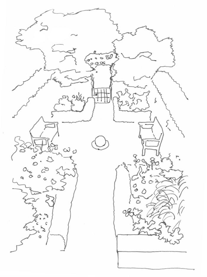 Skizze schwarz Weiß eines kleinen Garten von halb obenbetrachtet mit Hecken, Sträuchern und einer blickcitehnm umlaufenden Einfriedung.
