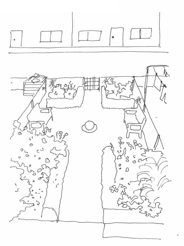 Skizze schwarz weiß, ein kleiner Garten mit Hecken und STräuchern, halb von oben gesehen, mit einer neidrigen Zaun Einfriedung