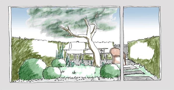 Skizze eines kleinen Garten, dessen Freisitz am Ende des Gartens ist und vor dem Bodentiefen Fenster nur ein Traufstreifen liegt. Blick durch das Fenster