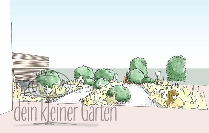 Handzeichnung, koloriert: Perspektischer Blick in einen Reihenhausgarten von der sekundären Terrasse in den Grünzug außerhalb des Gartens. Die Wege und Beete laufen nun in Blickrichtung.