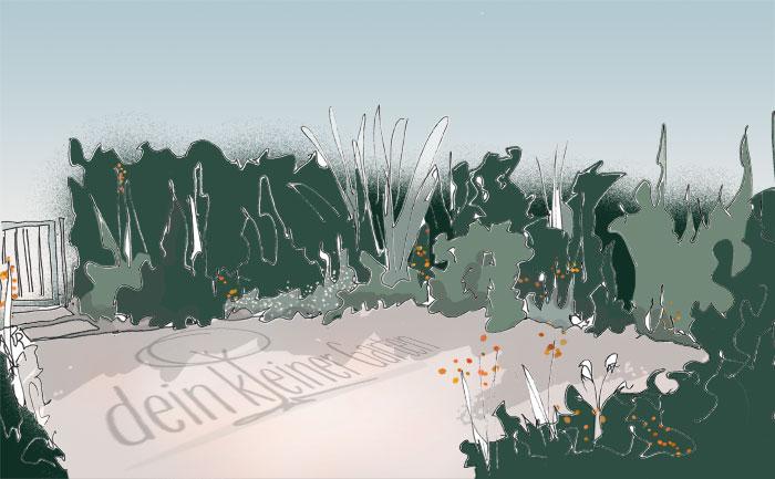 Skizze, handgezeichnet, coloriert, Perspektive in kleinen Wohnzimmer-Garten mit zentraler Terrasse und umlaufenden Beeten