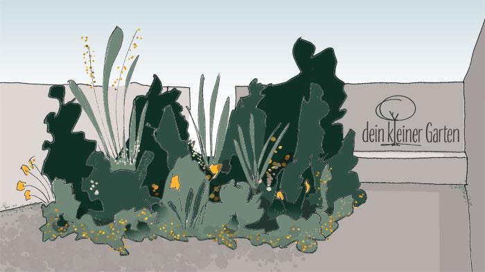 Skizze, handgezeichnet, coloriert Perspektive eines kleinen Reihenhausgarten mit blickdichten Grenzen und einem zentralem Beet. Ein invertierter Garten, in dem das Beet nicht den Rand, sondern das Zentrum bildet.