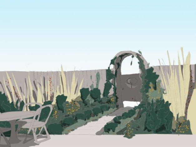Skizze, Perspektive eines Reihenhausgartens mit zentralem Weg und symetrischen Beeten