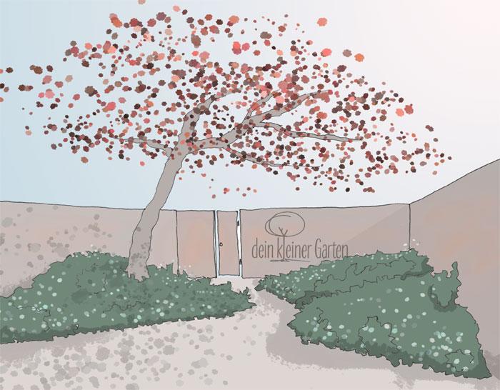 Skizze, Perspektive eines Reihenhausgartens mit einem Weg, der sich zwischen hügeligen Beeten schlängelt. Ein Baum beschirmt den Weg. Die Szene wirkt wie der einladendende Beginn eines Spaziergangs.