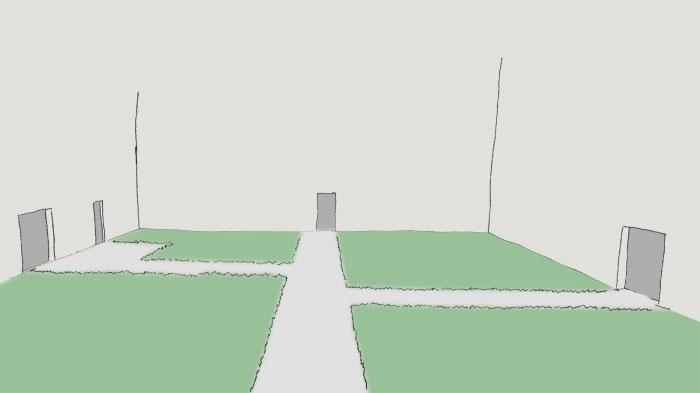 Skizze handgezeichnet eines leeren Innenhofs mit mehreren Türen an verschiedenen Seiten. Für die Erschließung wurde ein System aus sich rechtwinklig kreuzenden Wege angelegt.
