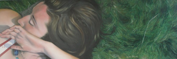 Ciara on the Grass, oil on board, image