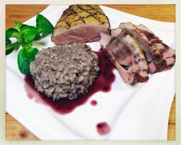Weihnachtsspecial - gesmokte Entenbrust mit Rotweinrisotto, Portweinreduktion und Bratapfel