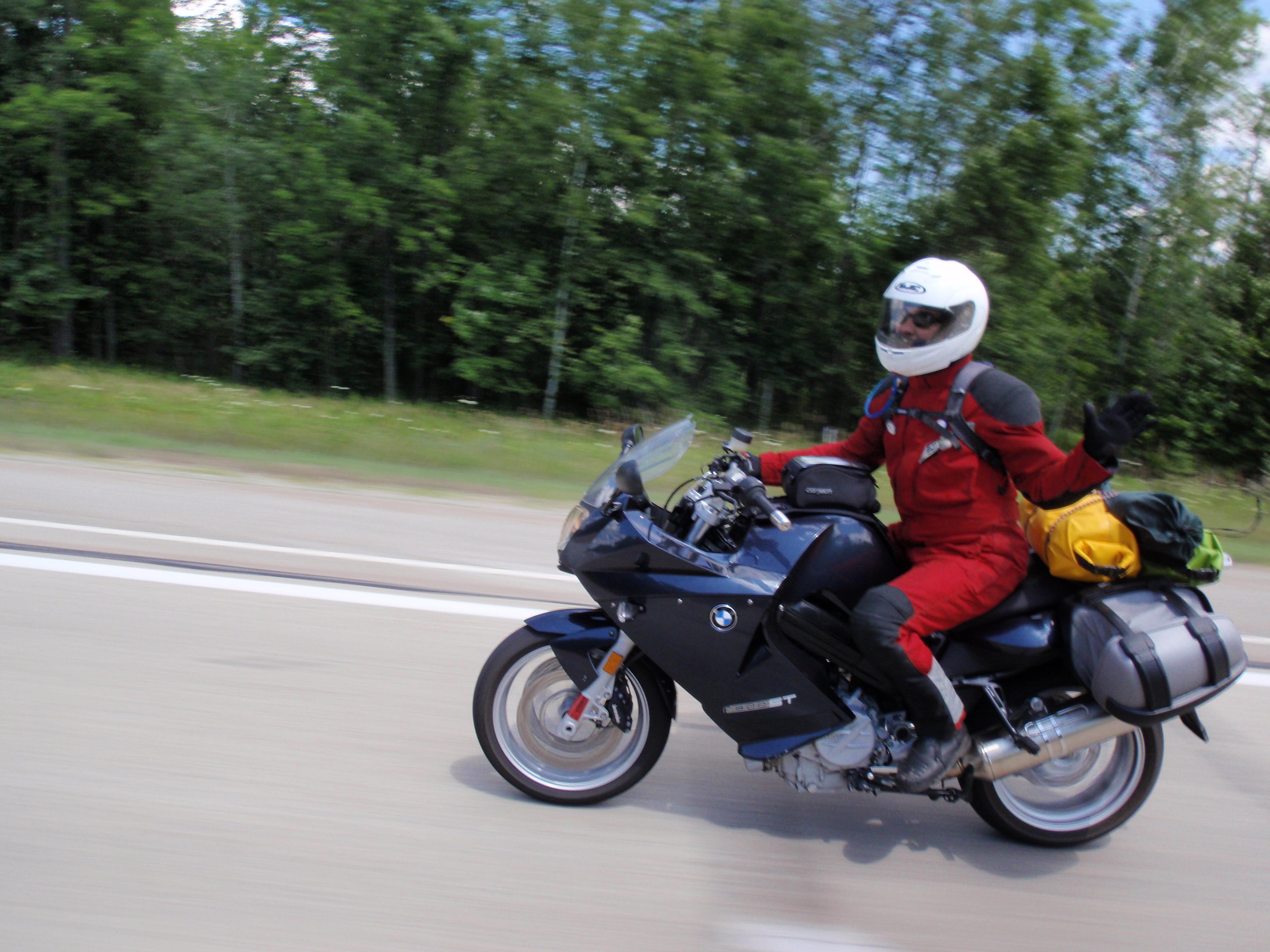 Do bin ich uff meim Motorcycle in Michigan.