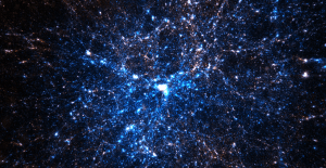 A small subset of the particles from the Dark Sky Simulation Collaboration, showing a massive galaxy cluster at the center. Particles are colored by their incoming (blue) or outgoing (red) velocity with respect to the cluster. (See ihttp://darksky.slac.stanford.edu/halo_world.html.)