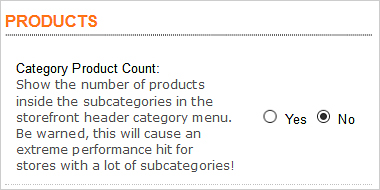 Turn off product count in OpenCart store