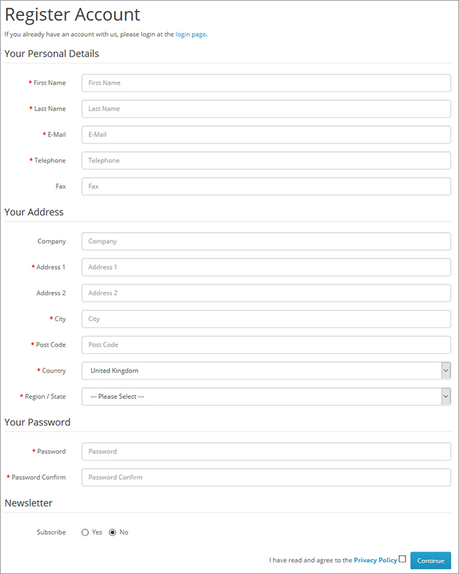Remove registration form field in OpenCart