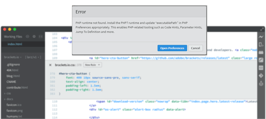 Brackets Error - PHP runtime not found