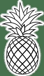 Criss Crossed Pineapple Outline Sticker