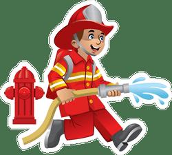 cute cartoon of firefighter