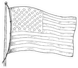 vintage american flag drawing