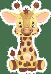 Cute Baby Giraffe Drawing : giraffe, drawing, Watercolor, Drawing, Giraffe, Sticker
