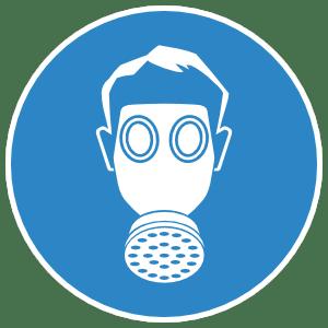 gas mask sign sticker