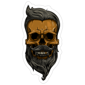 hipster skull with mustache