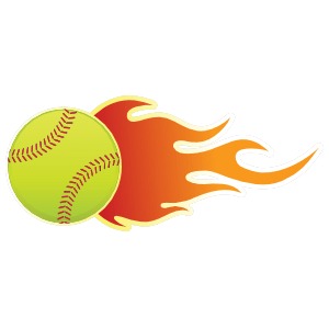 softball with flames sticker