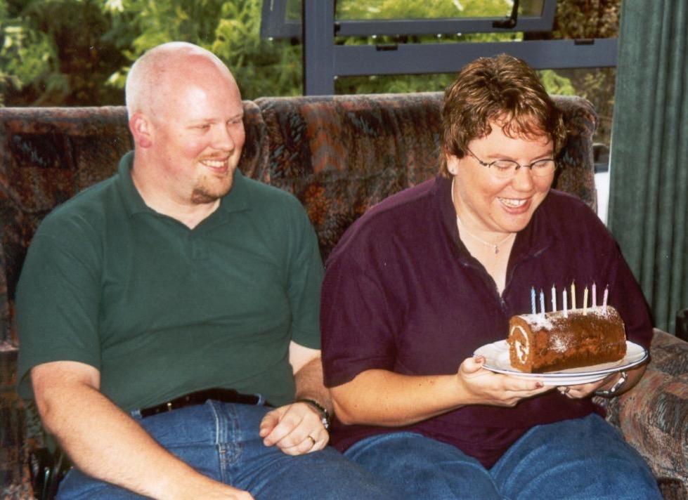 David & Jenn with birthday cake
