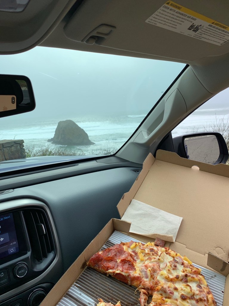 Pizza at a lookout