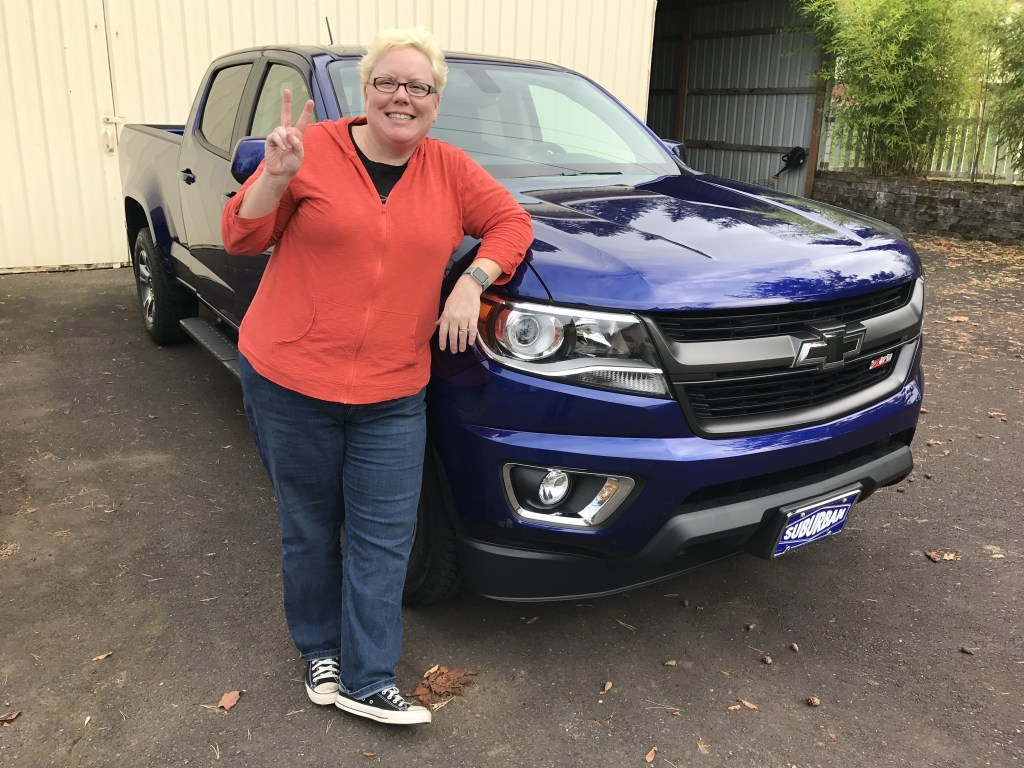 Jenn with our new truck as of 2016
